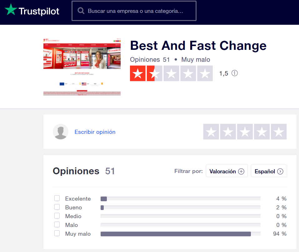 Best and Fast Change opiniones Trustpilot