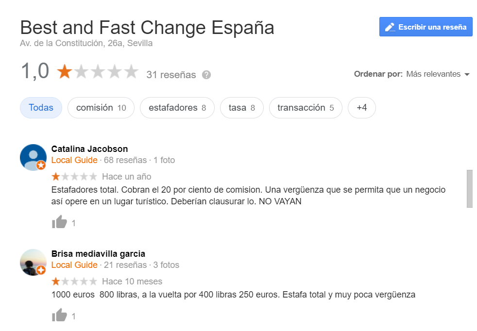 Best and Fast Change opiniones