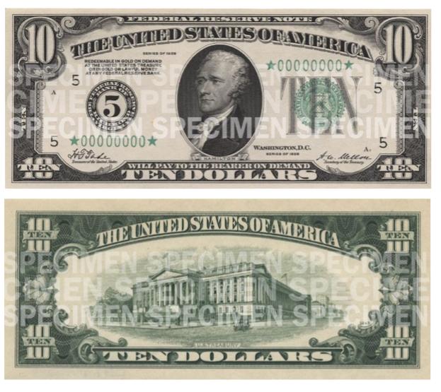 Billete de 10 dólares 1929 Hamilton