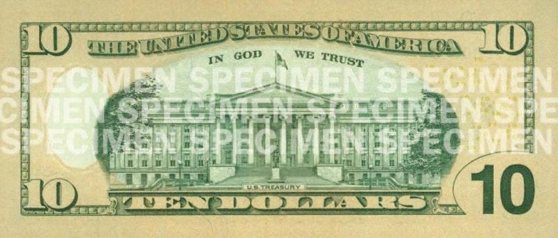 Billete de 10 dólares Hamilton 2006 reverso