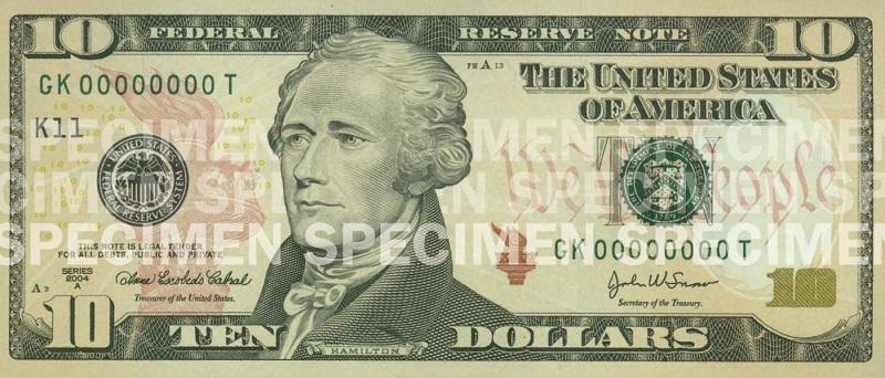 Billete de 10 dólares Hamilton 2006 anverso
