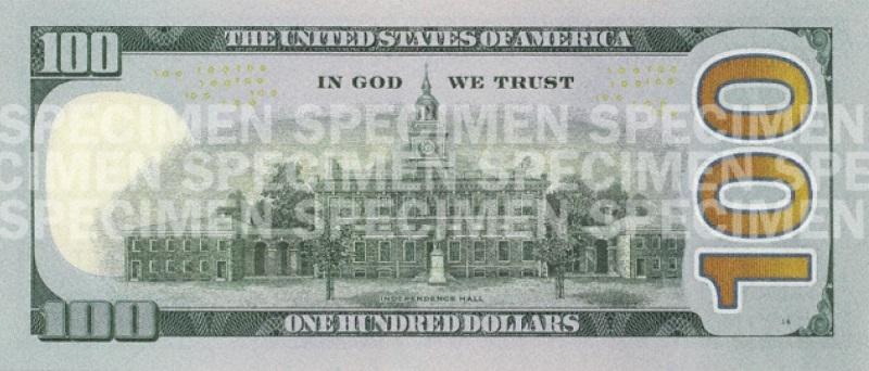 Billete de 100 dólares 2013 Benjamin Franklin reverso
