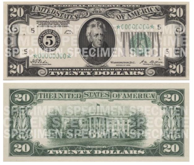 Billete de 20 dólares 1929 Jackson