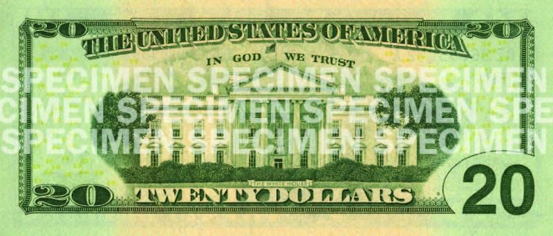 Billete de 20 dólares 2003 reverso