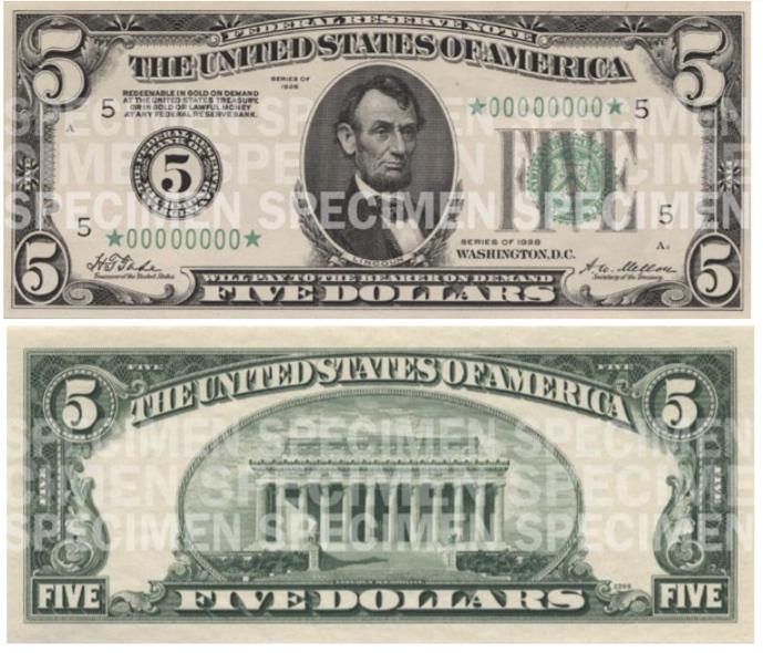 Billete de 5 dólares Abraham Lincoln serie 1929