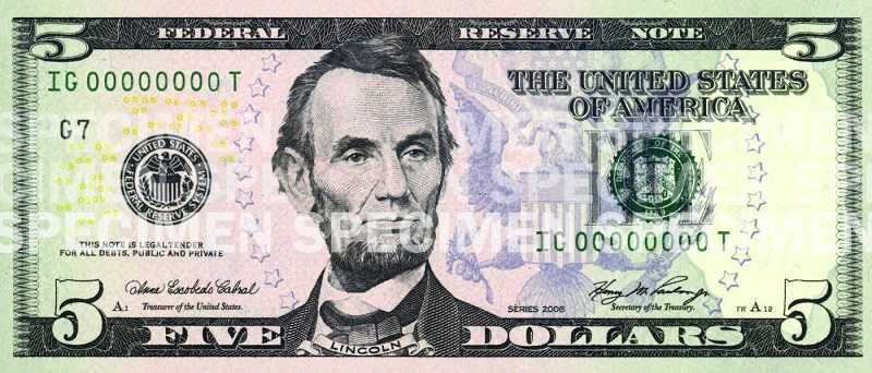 Billete de 5 dólares Abraham Lincoln serie 2008 anverso