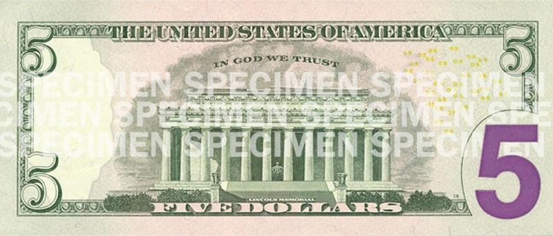Billete de 5 dólares Abraham Lincoln serie 2008 reverso
