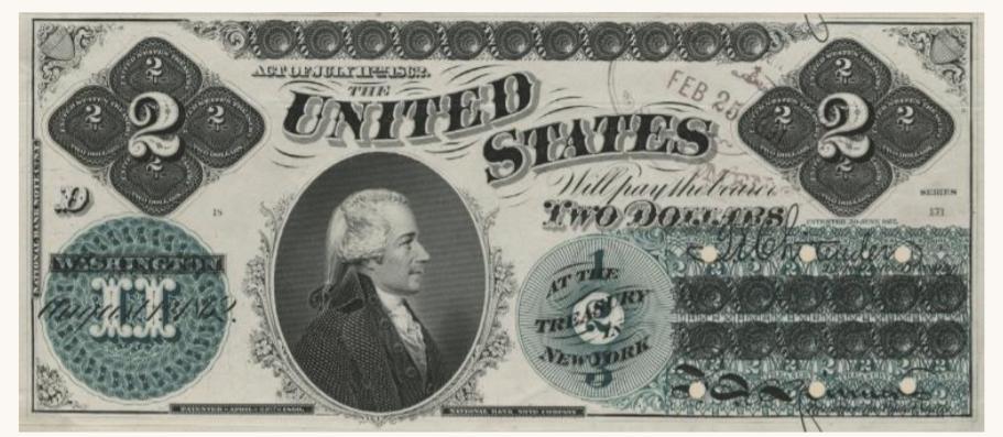 Billete de dos dólares Alexander Hamilton 1862