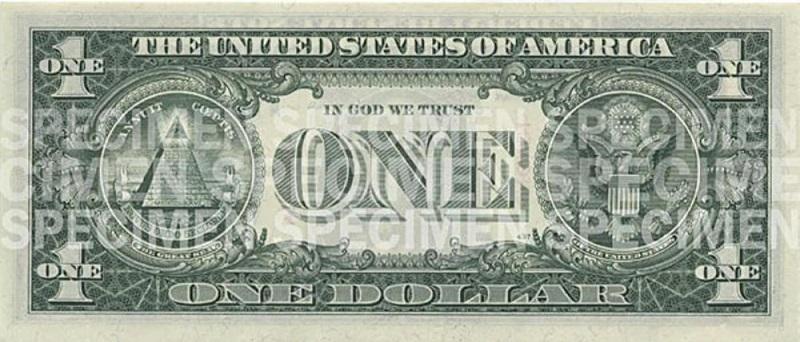 Billete de un dolar americano reverso tamaño mediano