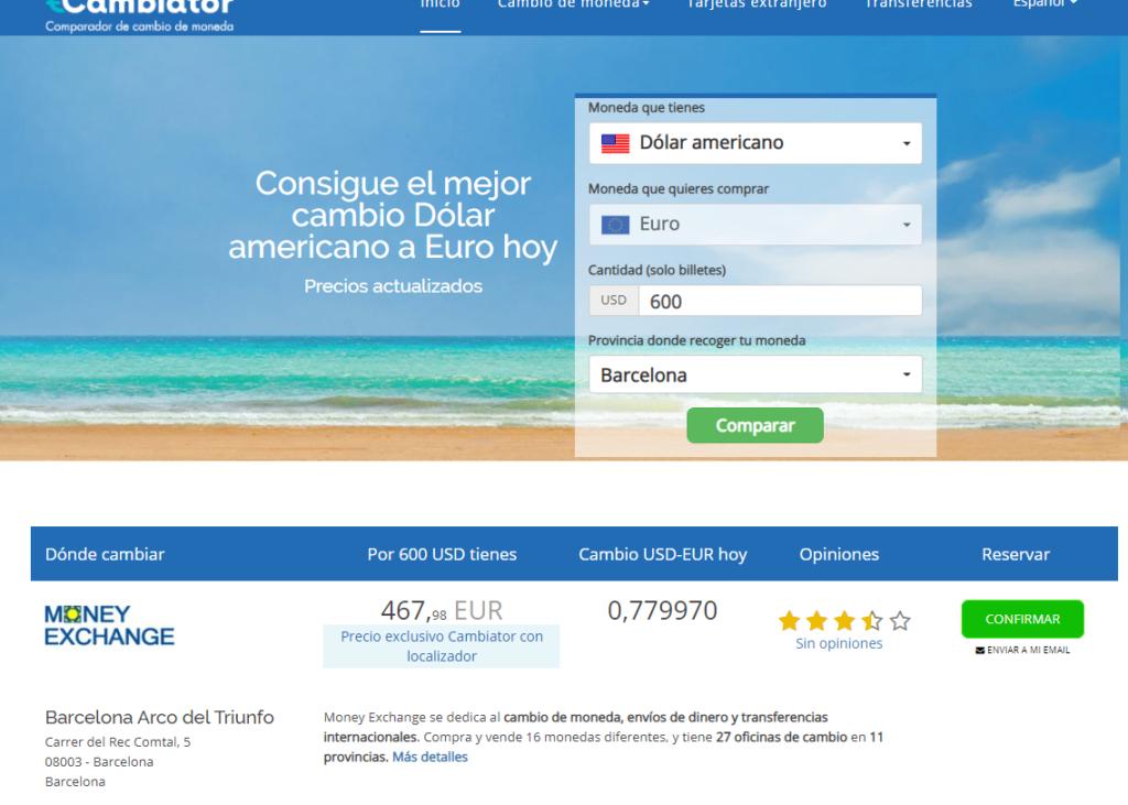 Cambiator mejor cambio dolar a euro en Barcelona
