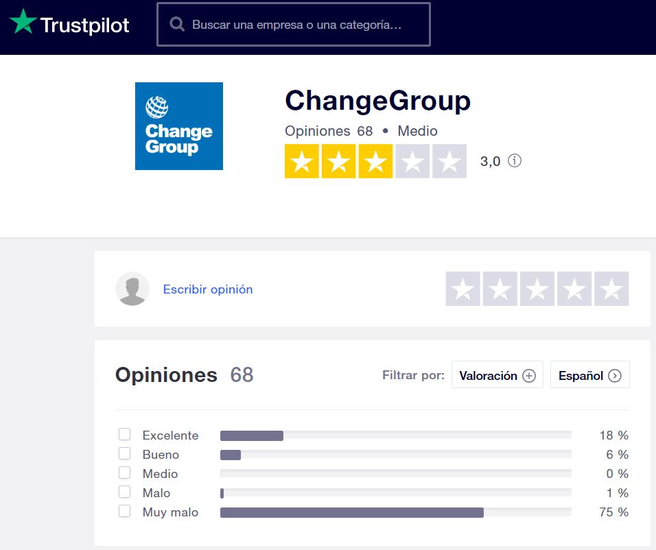 Change Group opiniones Trustpilot