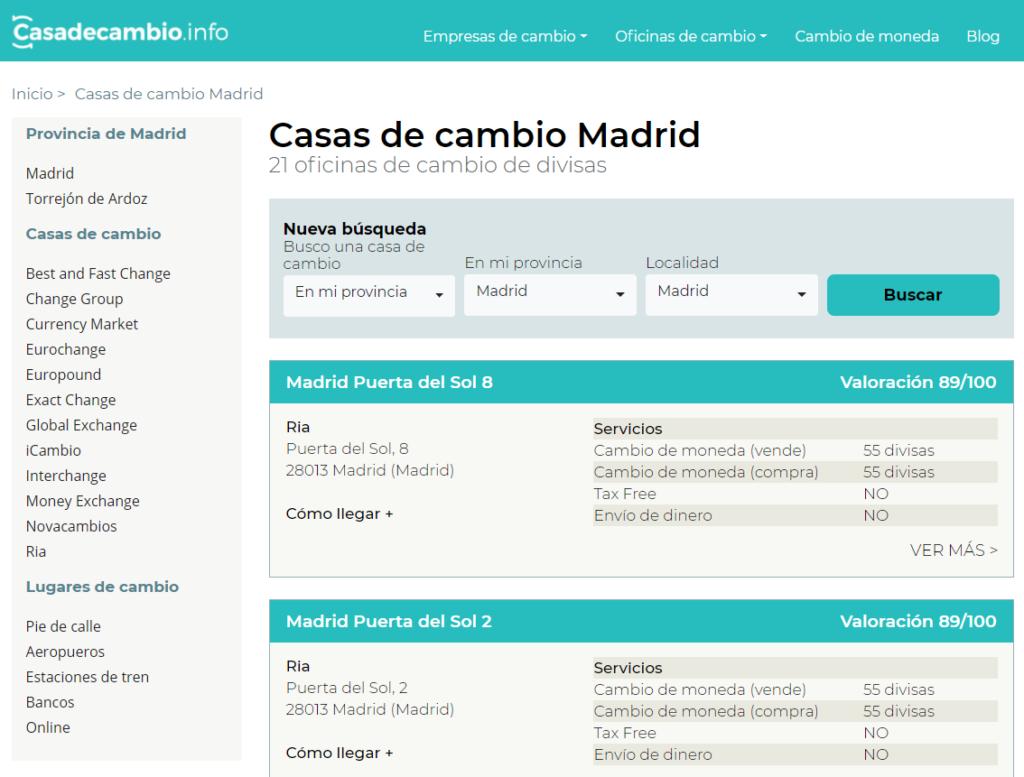 Donde cambiar dolares a euros en Madrid