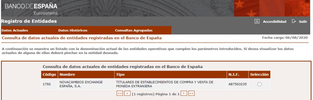 NovaCambios Banco de España