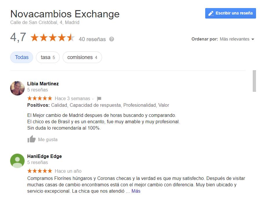 NovaCambios Exchange opiniones