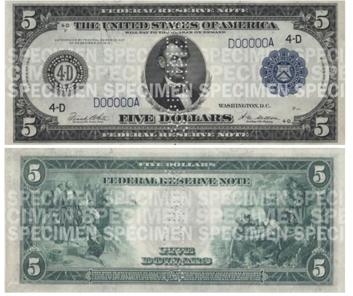 Primer billete de cinco dólares Abraham Lincoln 1914